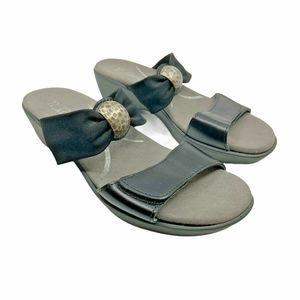 Naot Black Leather & Fabric 2 Strap Slide Sandals